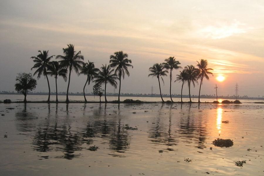 Kerala backwaters at sunset